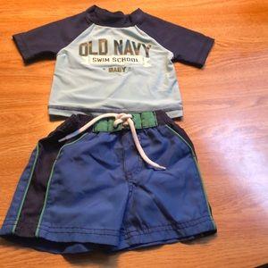 Old Navy Short sleeve swim set 3-6 month